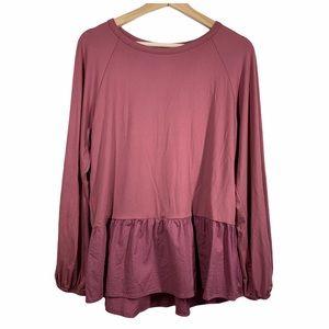 Shop Basic Long sleeve ruffle top- size M